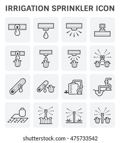 Water sprinkler and irrigation system vector icon set design.