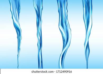 Water streams set, isolated flow motion of pure liquid. Hydration elements on blue background. Dynamic flowing transparent pouring aqua jet, drink, waterfall or river spate Realistic 3d vector clipart