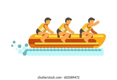 Water summer sport activity vector flat icon. People on inflatable banana boat on water waves