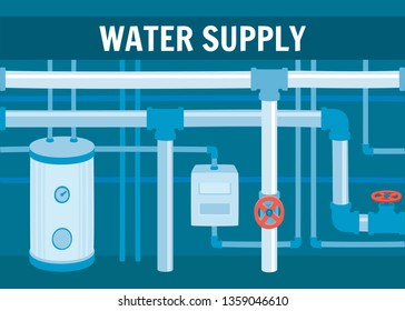 Water Supply Concept. Hot Water Heating Circulation System Equipment in Home Basement. Professional Plumbing Service Modern Technology Water Pipeline System Construction Pump Boiler Repair