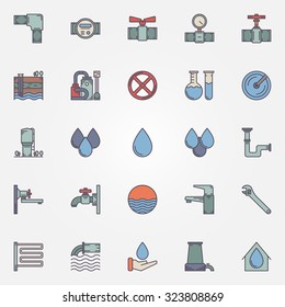 Water supply icons - vector set of faucet, pipe, valve, water drop, water purification symbols or logo elements for infographics