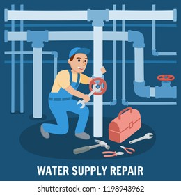 Water Supply Repair. Sewage System. Professional Plumber Repairs Plumbing with Tools. Inspection of Pipeline with Plumbing Work Leak. Plumber Design concept set with Pipes Repair. Vector Illustration.