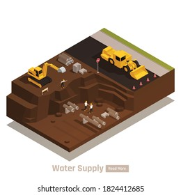 Water supply system isometric web page element with bulldozer excavator digging trenches for pipes installation vector illustration