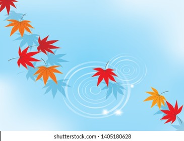 Water surface and colored leaves