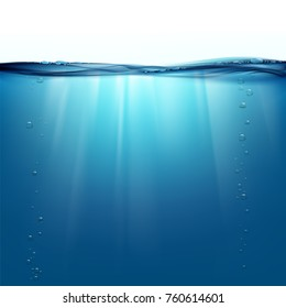 Water surface. Natural background. Sun rays underwater. Stock vector illustration.