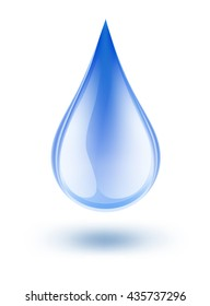 water symbol drop blue color with shadow on white. vector illustration