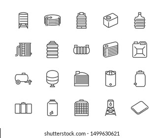 Water tank flat line icons set. Liquid storage, plastic container, rainwater harvesting, oil plastic barrel, vector illustrations. Outline signs for aqua industry. Pixel perfect. Editable Stroke
