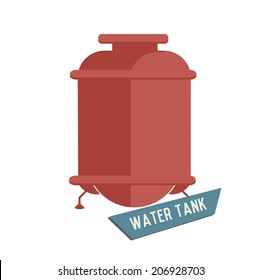 Water tank symbol on white background,Retro colour concept,clean vector
