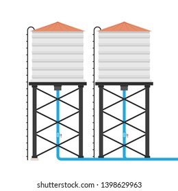 water tank vector. water tank on white background.