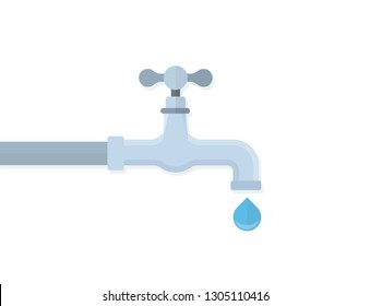 Water tap with drop flat vector