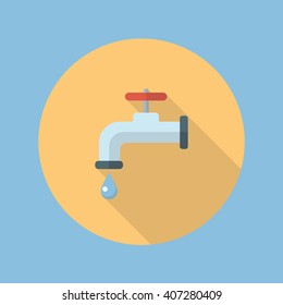 Water tap flat icon with long shadow