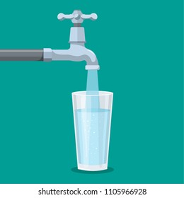 Water tap with glass. Kitchen faucet. Glass of clean water. Filling cup beverage. Pouring fresh drink. Vector illustration in flat style