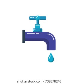 Water tap icon in flat style. Colored leaking faucet with liquid drop. Water economy symbol isolated on white background.