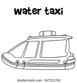 Water taxi of transportation hand draw collection stock
