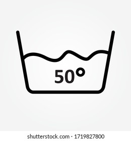 Water temperature 50 deg icon line symbol. Isolated vector illustration of icon sign concept for your web site mobile app logo UI design.