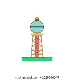 Water tower building colorful icon. Stock vector illustration of industrial construction with water reservoir.