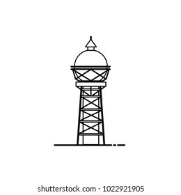 Water tower building icon. Stock vector illustration of industrial construction with water reservoir in black and white colors.