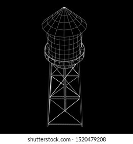 Water tower. Industrial construction with water tank. Wireframe low poly mesh vector illustration.