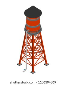 Water tower isometric isolated. Water-bearing tower. Vector illustration