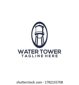 Water tower logo concept on flat background vector