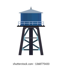 Water tower vector icon illustration tank isolated white. Industrial architecture container structure. Blue reservoir tall