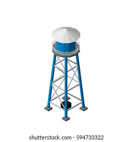 Water tower.Isolated on white background. Vector illustration.Isometric view.