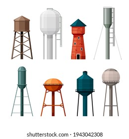 Water towers set. Industrial tanks made red brick and steel for storing supplies drinking liquid tall gray frames with vertical ladders maintenance plumbing infrastructure. Vector containers.
