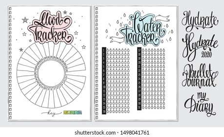 Water tracker. Mood tracker blank with hand written cute numbers and lettering. Bullet journal template. Hydrate lettering. Goal and habit tracker.
