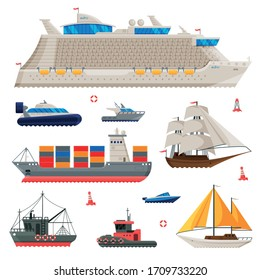 Water Transport Collection, Fishing Boat, Cruise Liner, Sailboat, Cargo Ship, Motorboat, Sea or Ocean Transportation Vector Illustration