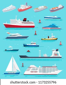 Water transport different kinds of ships and vessels vector. Cruise liner, yacht and sailing boat, cargo transportation. Buoys and voyages tours set