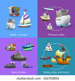 Water transport realistic icons set with water carriage premium special and sailing ships isolated vector illustration