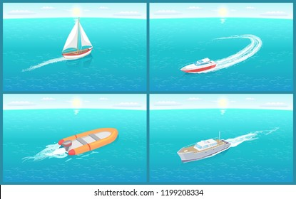 Water transport sailing boat motor set vector. Inflatable rubber vessel for fishermen and fishing people. Cruise liner and small yachts for floating