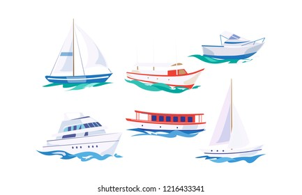 Water transport set, yacht, motorboat, steamship, fishing boat, cruise ship vector Illustration on a white background