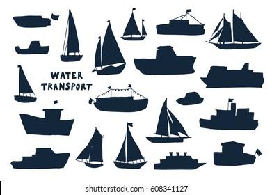 water transport silhouette set.
