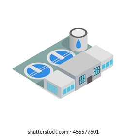 Water treatment building icon in isometric 3d style isolated on white background