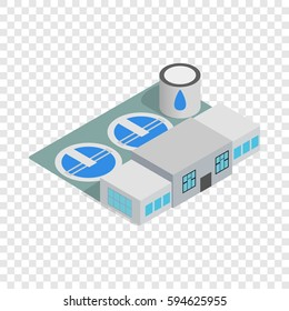 Water treatment factory icon. Isometric 3d illustration of water treatment factory vector icon logo on a transparent background