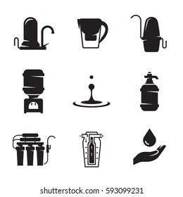 Water treatment, filter icons set. Black on a white background
