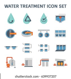 Water treatment icon and water filter icon, That removes contaminants and undesirable components to improves the quality of water appropriate for end-use such as drinking or water supply,