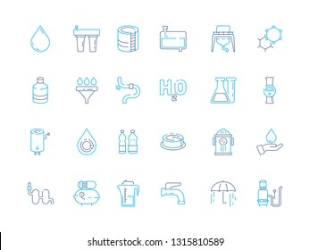 Water treatment icon. Purifier recycling industry container tank filter for water ecosystem wastewater vector colored symbols