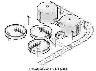 Water treatment isometric building info graphic, big wire bacterium purifier factory on white background. Scientific illustration. Industrial chemistry cleaner set. Flatten isolated master vector.