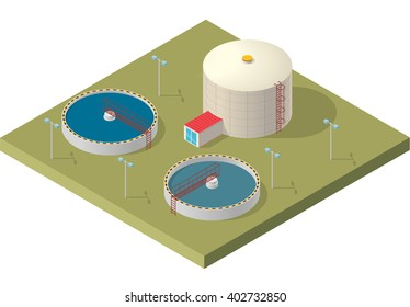 Water treatment isometric building info graphic, big bacterium purifier factory on white background. Scientific illustration. Pictogram industrial chemistry cleaner set. Flatten isolated master vector