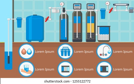Water Treatment Plant Concept. Destruction Bacteria. Water Purification System. Flasks with Filters and Fluid Reservoir. Purification and Filtration Technology. Vector Flat Illustration.