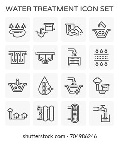 Water treatment plant and water filter and wastewater or waste water vector icon set design. Editable stroke.