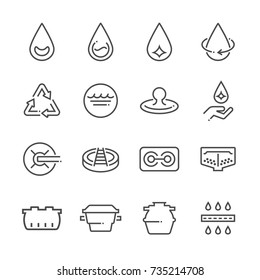 Water treatment plant and septic tank, vector line icon set.