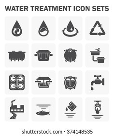 Water treatment plant and wastewater or waste water and septic tank vector icon set. That removes sewage and grease from water to improves the quality of water appropriate for drinking and supply use.