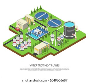 Water treatment plants isometric vector illustration with storage tank distribution   prefiltration and final filtration units