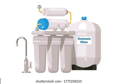 Water treatment. Reverse osmosis water treatment system isolated on white background. Equipment consist from filter, membrane, water tank and tap vector illustration