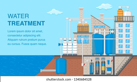 Water Treatment System Banner with Text Space. Water Purification Technology Vector Poster. Reservoir, Tank with Liquid. Sewage Filtration. Factory Building Flat Illustration. Plumbing Pipes