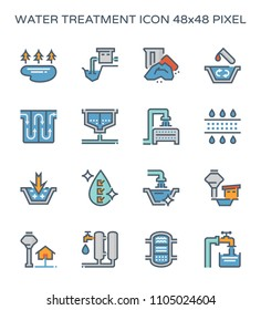 Water treatment system and water filter icon set, 64x64 perfect pixel and editable stroke.