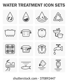 Water treatment system and septic tank vector icon sets.